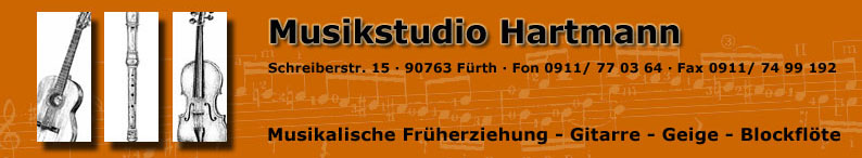 Musikstudio Hartmann Musikunterricht musikalische Früherziehung Gitarre Geige Blockflöte
