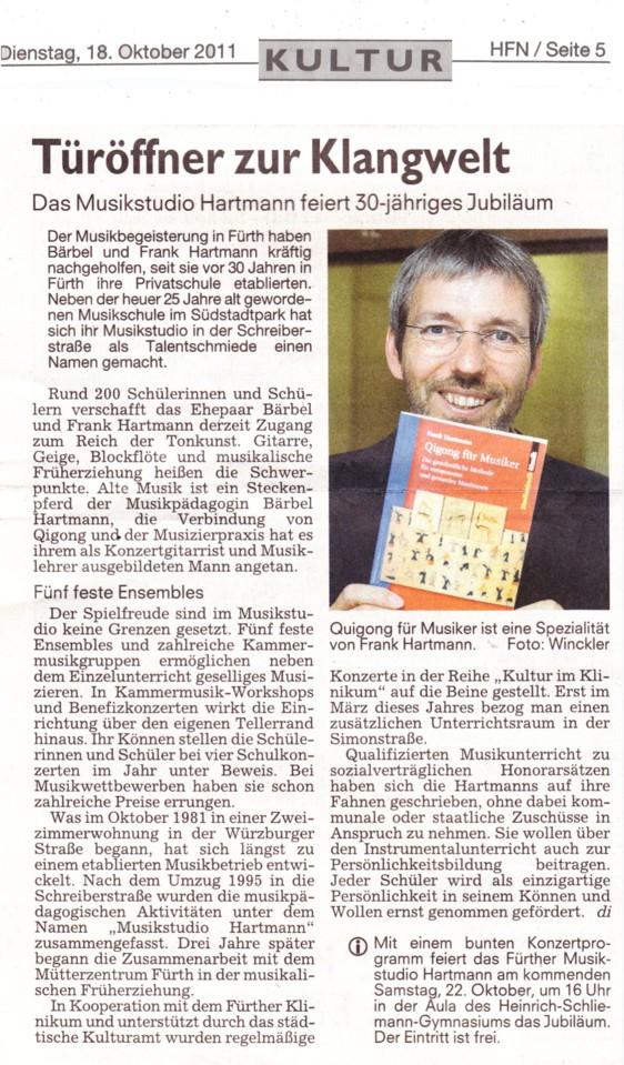 Fuerther Nachrichten 30 Jahre Musikstudio Hartmann