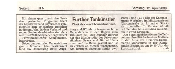 Fuerther Nachrichten Workshop Artikel Musikstudio Hartmann