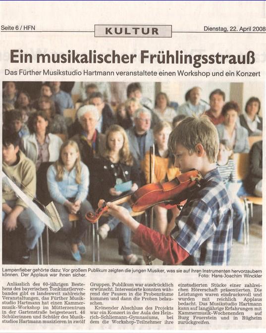 Workshopkonzert Musikstudio Hartmann Fuerther Nachrichten